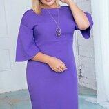 Нарядное платье большого размера из костюмной ткани с украшением скл.1 арт. 59802