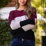 Теплый вязаный свитер джемпер косы полоска ткань акрил марс Турция скл.1 арт. 59764
