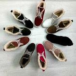 Распродажа Натуральные замшевые женские ботинки слипоны с шнуровкой
