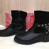 Ботинки женские зимние Украина M.KRaFVT 2515/1 зима, Кожа замш, черный