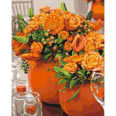 Картина по номерам. Оранжевые букеты 40 50 KHO3066