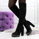 Женские зимние замшевые сапоги ботфорты