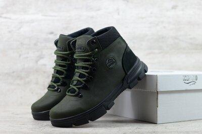 Топ качество. Зима. Мужские кожаные зимние ботинки IceField хаки зеленые IF12 зел
