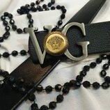 Кожанный ремень в стиле Versace, Версаче унисекс