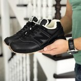 New Balance 574 кроссовки мужские зимние черные с коричневым 8522