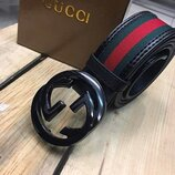Ремень кожаный Gucci, Гуччи реплика, унисекс с зелено красной полосой