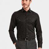 Черная мужская рубашка LC Waikiki / Лс Вайкики классического покроя с черными пуговицами