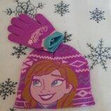 Комплект шапка и перчатки 3-5 лет disney с Анной и Эльзой