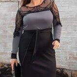 Нарядное платье имитация костюма, большого размера