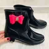 резиновые ботинки с бантиком беж и розовый