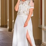 Платье макси с гипюровым топом, большого размера