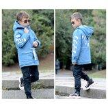Джинсовая детская куртка парка