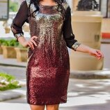 Нарядное платье пайетка - амбре батал,К-59848-51, Размеры 50,52,54.