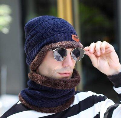 Стильный мужской зимний набор Шапка и шарф