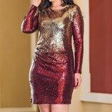 Нарядное платье пайетка - амбре двуцвет батал, К-59842-46, Размеры 48-50,50-52,52-54.