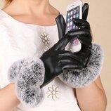 Стильные женские перчатки с мехом