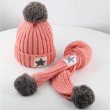 Розовый зимний комплект, шапка и шарф для девочки р.50-54