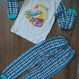 Пижама Пижамка теплая на баечке с начесом с манжетами начес Хлопок 104-110-116-122-128-134-140