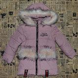 Куртка парка для девочек удлиненная, зимняя