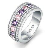 Позолоченное женское кольцо с цирконами код 1148