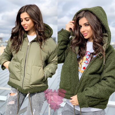 Теплая двухсторонняя куртка, расцветки разные