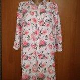 Нежная льняная удлиненная рубашка туника лён Пог-56 см