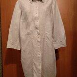 Шикарная льняная удлиненная рубашка туника лён Пог 54 см