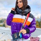 Теплая куртка со вставками, расцветки разные