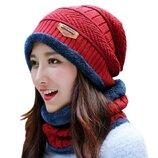 Стильный женский зимний набор Шапка и шарф