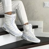 Зимние женские сапоги Adidas белые