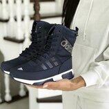 Зимние женские сапоги Adidas темно синие
