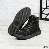 Код 303 Мужские ботинки Деми Натуральный нубук Внутри байка Высота подошвы 4/2 см Высота изделия 10