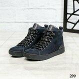 Код 299 Зимние мужские ботинки Натуральный нубук/кожа Внутри шерсть Высота подошвы 3/2 см Высота изд