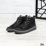 Код 296 Зимние мужские ботинки Натуральный нубук/кожа Внутри шерсть Высота подошвы 3/2 см Высота изд
