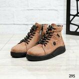 Код 295 Зимние мужские ботинки Натуральный нубук Внутри шерсть Высота подошвы 2.5/2 см Высота издели