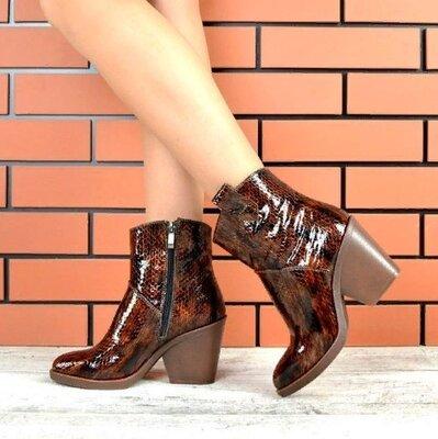 Ботинки Texas, натуральная кожа под рептилию, коричневые, деми и зима