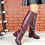 Кс220837З Зимние женские кожаные ботфорты на каблуке цвет марсала