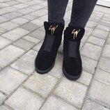 Женские зимние ботинки натуральный замш