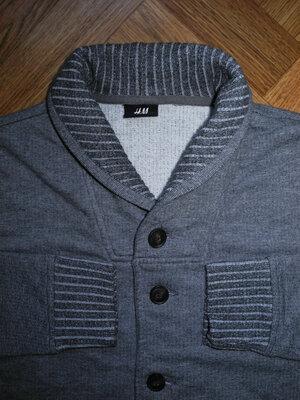 Мужская кофта кардиган теплая серая H&M M