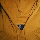 Кофта балахон кенгуру с капюшоном желтый теплый H&M S M