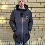 46-52 рр Мужская зимняя куртка синий, черный