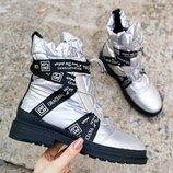 Женские ботинки дутики серебро, зима