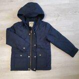Демисезонная куртка с капюшоном, 5-6 лет, цвет -синий. Б/у в отличном состоянии