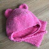 Шапка с ушками вязаная и снуд ручная работа розовая велюр новая теплая handmade
