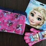 Набор шарф-снуд перчатки Анна Эльза Дисней