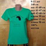 9-11 лет 140 см яркая зеленая футболка с принтом хлопок трикотаж