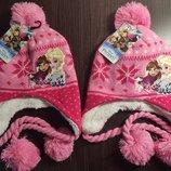 Теплая шапка на травке розовая Аннаа Эльза для девочки Дисней