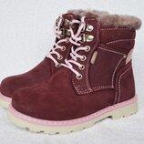 Ботинки, сапожки зимние для девочки. Тм Bi&Ki. 26-31р. Модель 57-83С. Кожа, цигейка