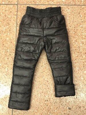 Теплые зимние детские штаны на резинке плащевка синий черный на синтепоне 98 104 110 116 122