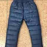 Теплые зимние детские штаны на резинке плащевка синий черный на синтепоне